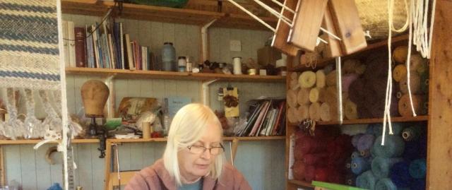Jane Erskine at Her Weaving Loom